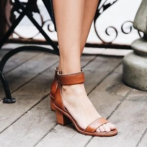 Frye Brielle Leather Zip Back Heeled Sandals